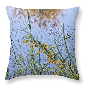 Floral Pond  Throw Pillow