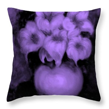 Floral Puffs In Purple Throw Pillow