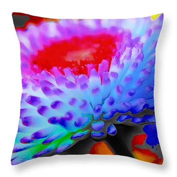 Floral Rainbow Splattered In Thick Paint Throw Pillow