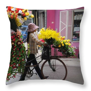Floral Ride Throw Pillow