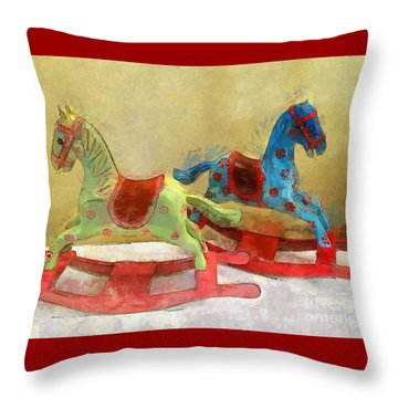 Floral Rocking Horses Throw Pillow