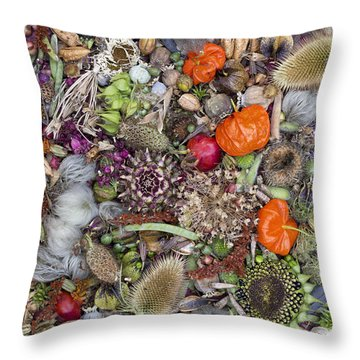 Floral Seed Pods Throw Pillow