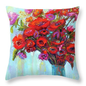 Throw Pillow featuring the painting Red Poppies In A Vase, Summer Floral Bouquet, Impressionistic Art by Patricia Awapara