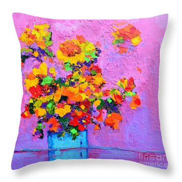 Floral Still Life - Flowers In A Vase Modern Impressionist Palette Knife Artwork Throw Pillow