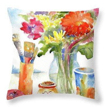 Floral Still Life Throw Pillow by Pat Katz