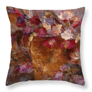 Floral Still Life Pinks Throw Pillow by Claire Bull