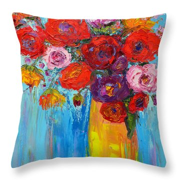 Throw Pillow featuring the painting Wild Roses And Peonies, Original Impressionist Oil Painting by Patricia Awapara