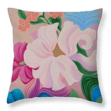 Floral Symphony Throw Pillow by Irene Hurdle
