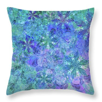 Floral Watercolor Blue Throw Pillow