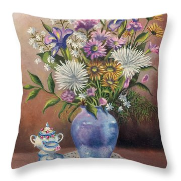 Floral With Blue Vase With Capadamonte Throw Pillow
