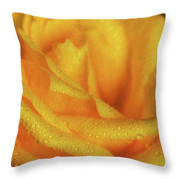 Throw Pillow featuring the photograph Floral Yellow Rose Blossom by Shelley Neff