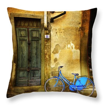 Throw Pillow featuring the photograph Florence Blue Bicycle by Craig J Satterlee