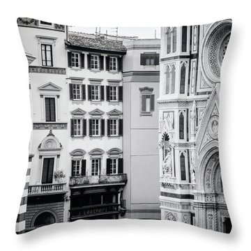 Throw Pillow featuring the photograph Florence Italy View Bw by Joan Carroll
