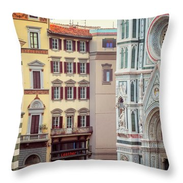 Throw Pillow featuring the photograph Florence Italy View by Joan Carroll