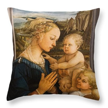 Florence - Madonna And Child With Angels- Filippo Lippi Throw Pillow