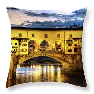 Florence - Ponte Vecchio Sunset From The Oltrarno - Vintage Version Throw Pillow