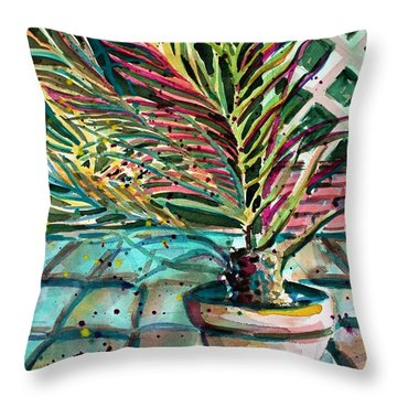 Throw Pillow featuring the painting Florescent Palm by Mindy Newman