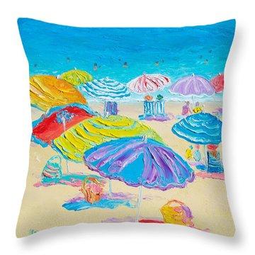 Florida Beach Umbrellas Throw Pillow
