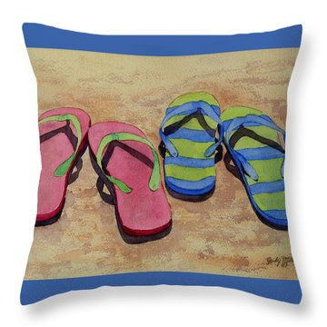 Throw Pillow featuring the painting Florida Dress Shoes by Judy Mercer