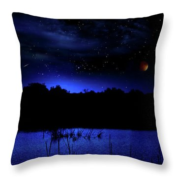 Florida Everglades Lunar Eclipse Throw Pillow by Mark Andrew Thomas