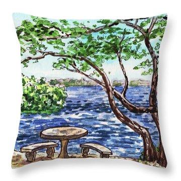 Throw Pillow featuring the painting Florida Keys John Pennekamp Park Shore by Irina Sztukowski