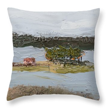 Throw Pillow featuring the painting Florida Lake II by Break The Silhouette