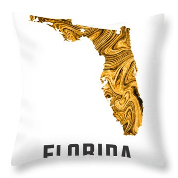Florida Map Art Abstract In Yellow Gold Throw Pillow