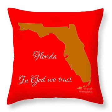 Florida Map In State Colors Orange Red And White With State Motto In God We Trust  Throw Pillow by Rose Santuci-Sofranko