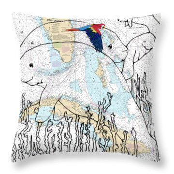 Florida N Cuba Manatee  Throw Pillow