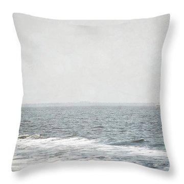 Florida Rustic Sailboat Ocean Landscape Throw Pillow by Andrea Hazel Ihlefeld