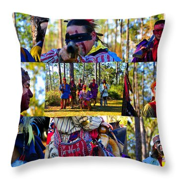 Throw Pillow featuring the photograph Florida Seminole Indian Warriors Circa 1800s by David Lee Thompson