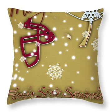 Florida State Seminoles Christmas Card 2 Throw Pillow by Joe Hamilton