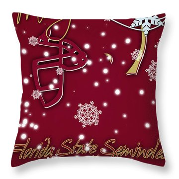 Florida State Seminoles Christmas Card Throw Pillow by Joe Hamilton