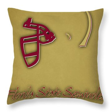 Florida State Seminoles Helmet 2 Throw Pillow by Joe Hamilton