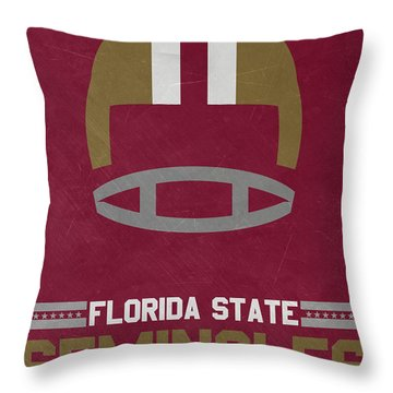 Florida State Seminoles Vintage Football Art Throw Pillow
