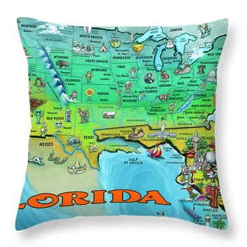 Florida Usa Cartoon Map Throw Pillow
