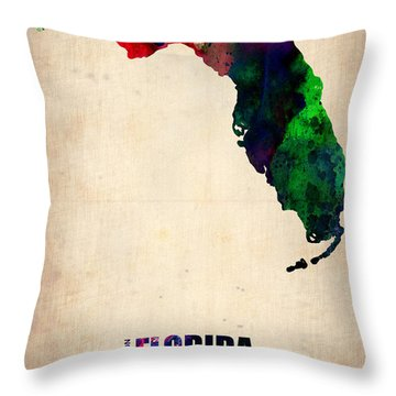 Florida Watercolor Map Throw Pillow by Naxart Studio