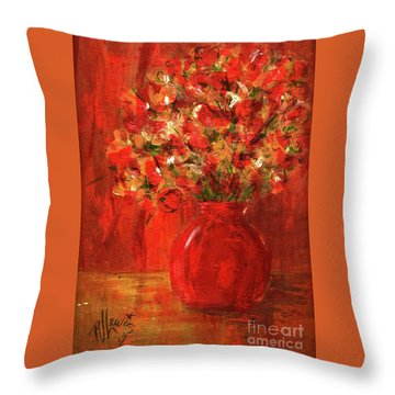 Throw Pillow featuring the painting Florists Red by P J Lewis
