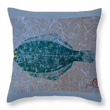 Flounder - Winter Flounder - Black Back Throw Pillow