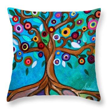 Throw Pillow featuring the painting Flourishing Tree by Pristine Cartera Turkus