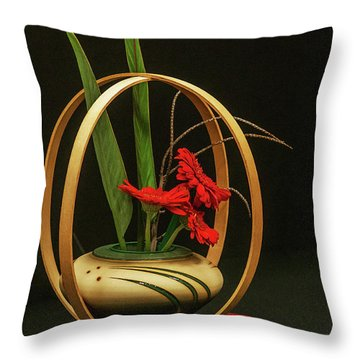 Flow Ikebana Throw Pillow by Carolyn Dalessandro