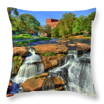 Flow On Reedy River Falls Park Art Greenville South Carolina Art Throw Pillow