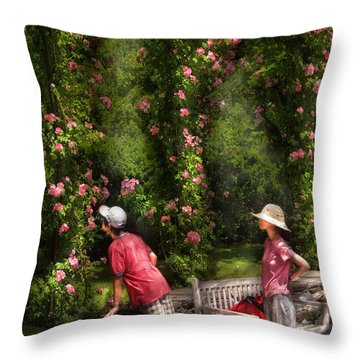 Flower - Rose - Smelling The Roses Throw Pillow by Mike Savad