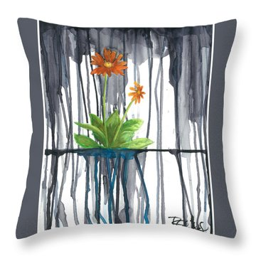 Flower #1 Throw Pillow by Rebecca Childs
