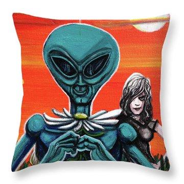 Flower. Alien. Moon Throw Pillow