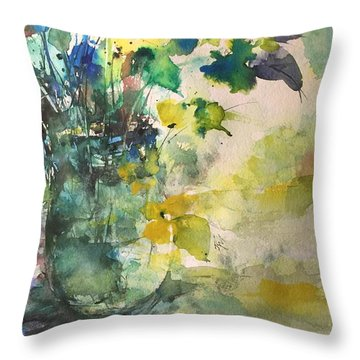 Flower And Vase Stilllife  Throw Pillow