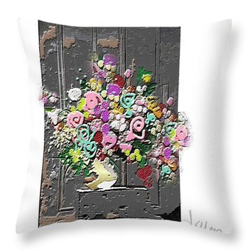 Throw Pillow featuring the mixed media Flower Arrangement by Larry Talley
