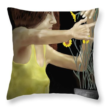 Flower Arranger Throw Pillow