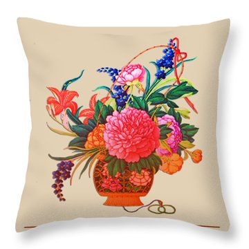 Flower Basket Throw Pillow by Asok Mukhopadhyay