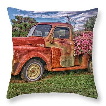 Dodge Flower Bed Throw Pillow
